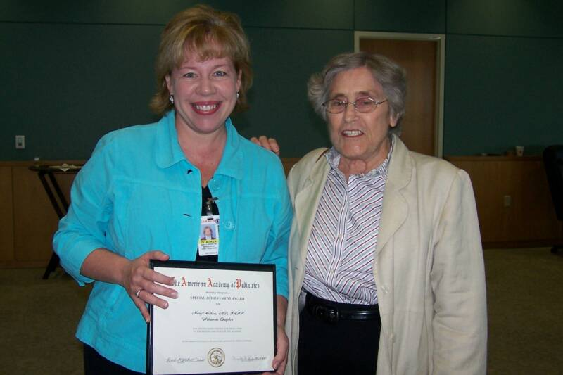 Dr. Mary Aitken (with Dr. Betty Lowe) for establishing the Arkansas Prevention Injury Center.